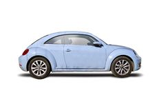 New VW Beatle. Blue isolated on white Royalty Free Stock Images