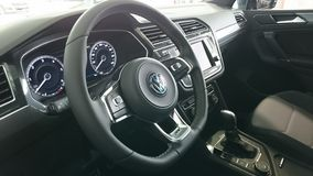 New Vw Tiguan cockpit interior. Dashboard with all controls of a new car Stock Images