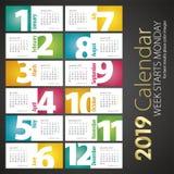 2019 New Desk Calendar monthly landscape background. 2019 New Wall Desk Calendar monthly big numbers landscape background colorful vector royalty free illustration