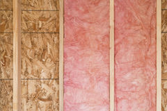 New Wall With Fiberglass Insulation Stock Image
