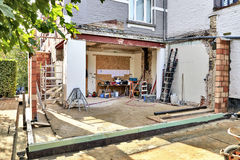 New wall for a modern extension Stock Images