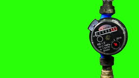 New water meter with green screen stock footage