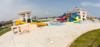 New water park at the entrance to Pomorie, Bulgaria Stock Photo