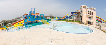 New water park at the entrance to Pomorie in Bulgaria Stock Images