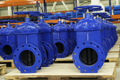 New water pipelines with valve on stock. New water pipelines with valve on plant`s stock stock photos
