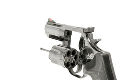 New Wave Financial Advice. Revolver with one bullet, white isolation Stock Images