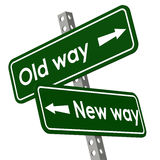 New way and old way road sign in green color Stock Images