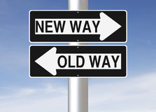 New Way Versus Old Way. Conceptual one way road signs on change or choices Royalty Free Stock Image