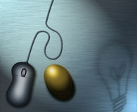 New Wealth. Lightbulb shadows and a computer mouse upon a lightly textured metal surface where lays a golden egg Royalty Free Illustration