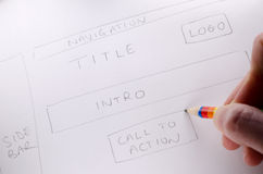 New website. Hand written design showing layout and plan of new website royalty free stock photo