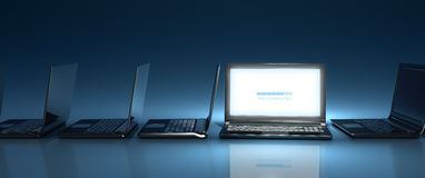 New website introduction - widescreen. Innovative top-nocht laptop computer on-line on blue background Royalty Free Stock Photos