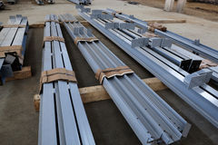 New welded metal beams. On modern plant royalty free stock photo