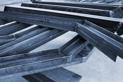 New welded metal beams. On modern plant royalty free stock images