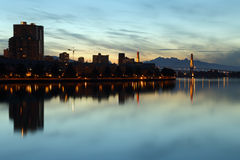 New Westminster, Fraser River Dawn, BC Royalty Free Stock Image