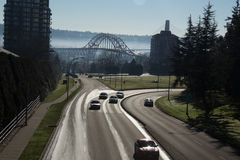 New Westminster McBride St and Pattullo Bridge. One of the major roads at New Westminister BC Canada - McBride royalty free stock image