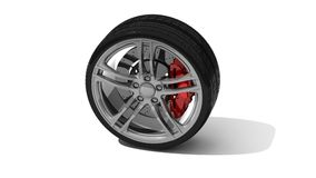 New wheel with steel rim Royalty Free Stock Photo
