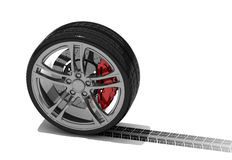 New wheel with tyre track. Isolated 3d render on white Stock Photography