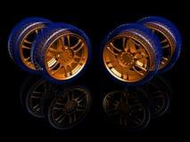 New wheels. On black. 3d illustration Royalty Free Stock Photo