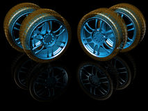 New wheels  on black. 3d illustration Royalty Free Stock Photo
