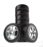 New wheels in the stack Royalty Free Stock Photography
