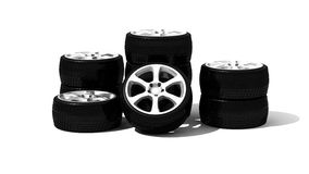 New wheels with steel rim Royalty Free Stock Photo