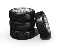 New wheels with steel rim Stock Images