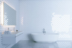 New white bathroom with big ceramic bathtub view 1 . 3d render Stock Images