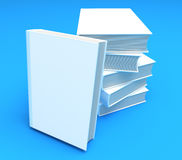 New white book presentation. Isolated on blue. Cle. An cover. Paste your text. 3D render Royalty Free Stock Photo