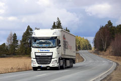 New White DAF Semi Truck on Rural Highway royalty free stock image
