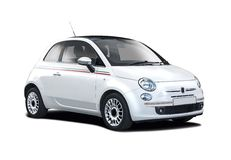 New white Fiat 500. New Fiat 500 side view isolated on white Royalty Free Stock Images