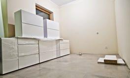 New white kitchen furniture Royalty Free Stock Photo