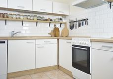 New white kitchen unit and kitchen cabinet royalty free stock images
