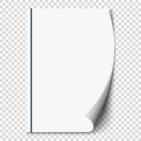 New white page curl on blank sheet  paper. Realistic empty folded page. Transparent design sticker. Vector Royalty Free Stock Image