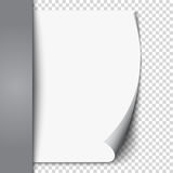 New white page curl on blank sheet  paper. Realistic empty folded page. Transparent design sticker. Vector Royalty Free Stock Photo