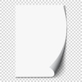 New white page curl on blank sheet  paper. Realistic empty folded page. Transparent design sticker. Vector Stock Images
