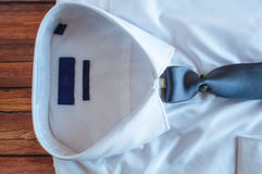 New white shirt with blue necktie Royalty Free Stock Photos