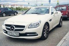 New white sport Mercedes Benz SLK. Stock Image