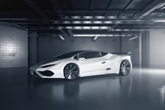 New white sportscar side. Side view of new white sportscar inside grunge garage. Race concept. 3D Rendering Stock Photography