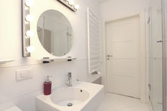 New bathroom. New, white and stylish bathroom in modern house Royalty Free Stock Photos