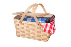 Picnic basket and wine Royalty Free Stock Photography