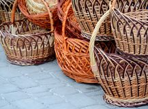 New wicker wicker baskets, traditional Easter basket royalty free illustration