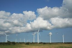 New windmills gotland. Windmill farm from Gotland, Sweden royalty free stock photo