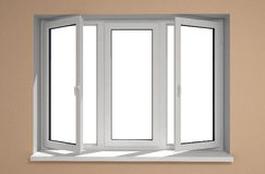 New window. Opened plastic window new in room with  clipping mask Royalty Free Stock Photography