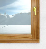 New window from inside in winter Royalty Free Stock Photo