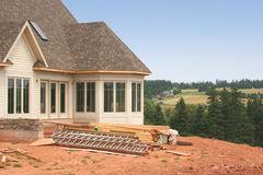 New Windows 3. The exterior of a partially constructed house showing the new windows royalty free stock photos