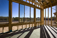New Windows in a Framed House Stock Photo