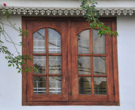 New Windows in Old Stone Wall Stock Photo