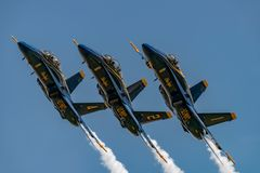 U.S.NAVY Blue Angles. NEW WINDSOR, NY - JULY 2, 2017: U.S.NAVY Blue Angles perform at the Stewart International Airport during the New York Airshow. Squadron is stock image