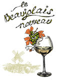 New wine Beaujolais nouveau with french text Stock Photos