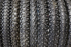 New winter bicycle tires with different tread Stock Images